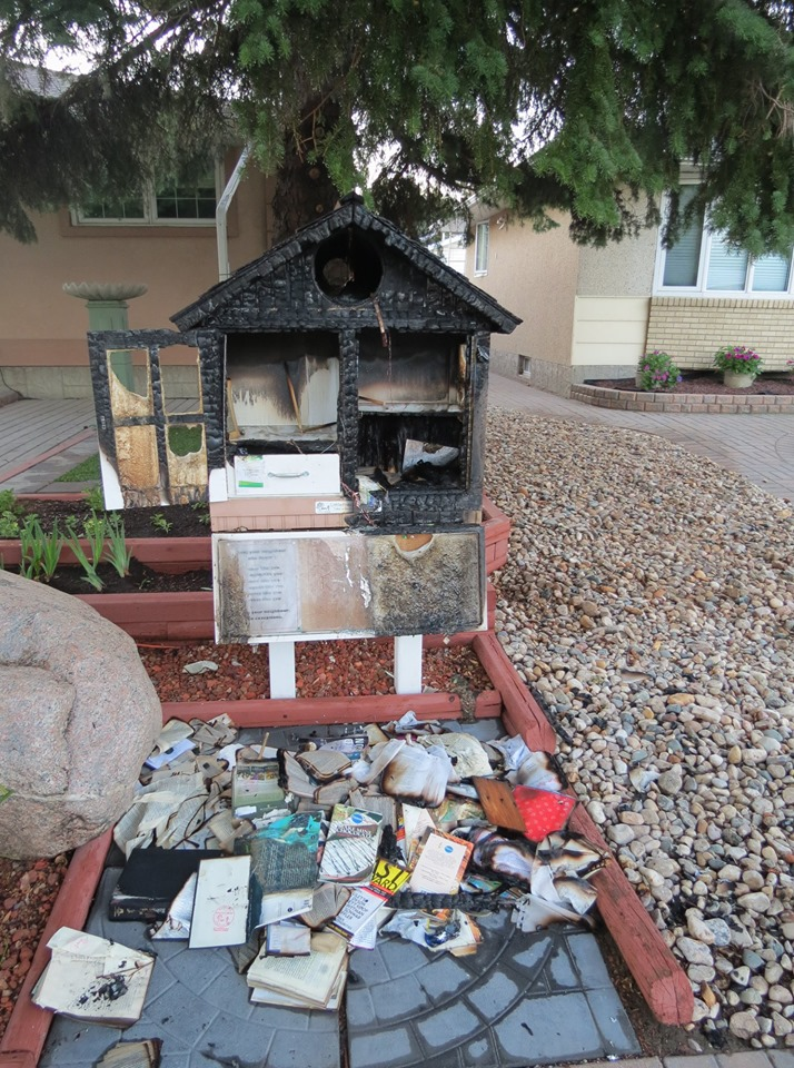 burned out little free library