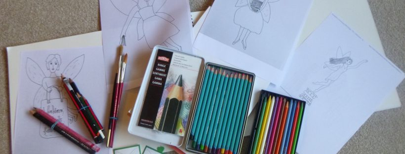 book fairies in isolation give colouring kits to children
