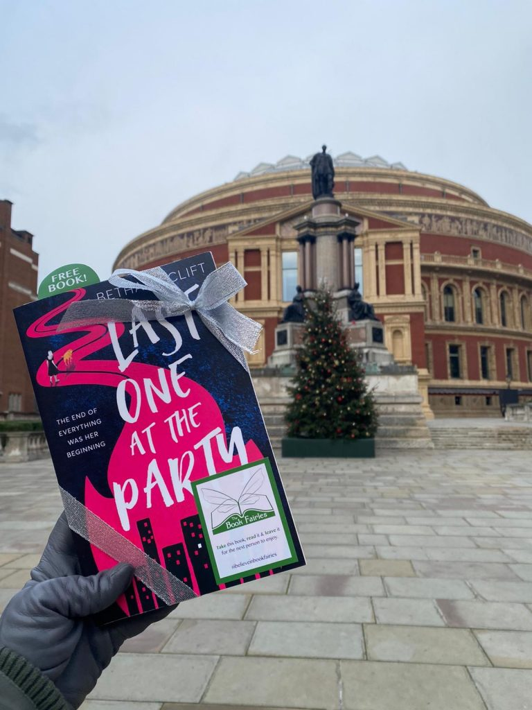 Last One At The Party by Bethany Clift was hidden outside the Royal Albert Hall in London by book fairies