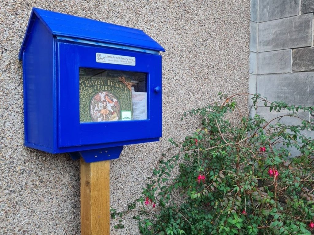 hiding at a Little Free Library - The Book Fairies hide copies of The Natural History of Fairies