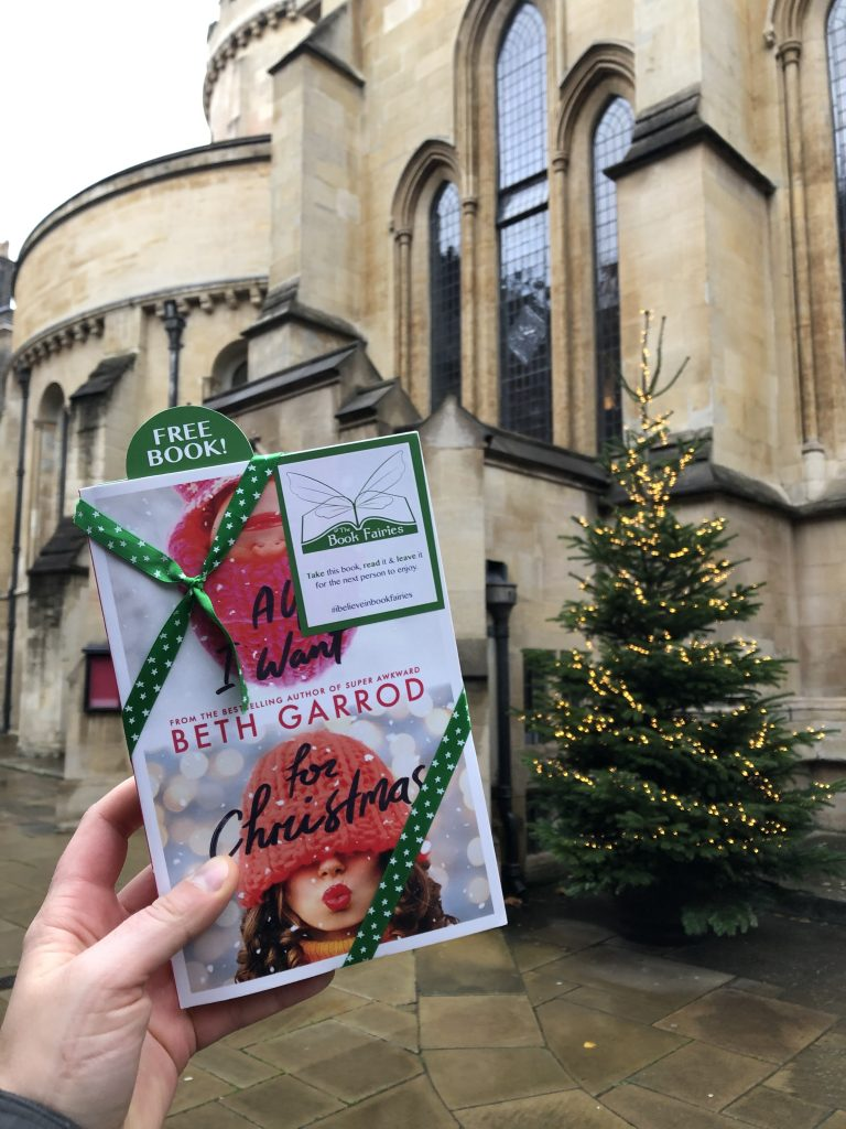 Hiding at Temple Church - Book Fairies hide copies of All I Want For Christmas by Beth Jarrod