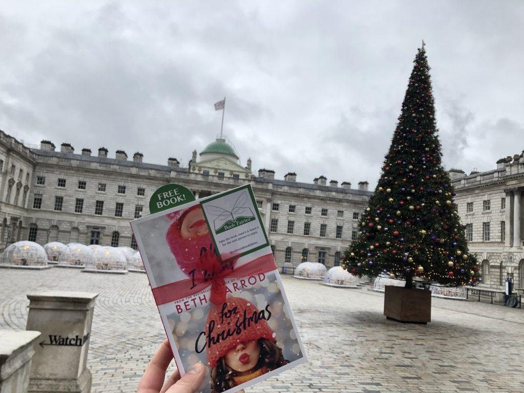 beth garrod's novel All I Want For Christmas hidden at Somerset House London by Book Fairies