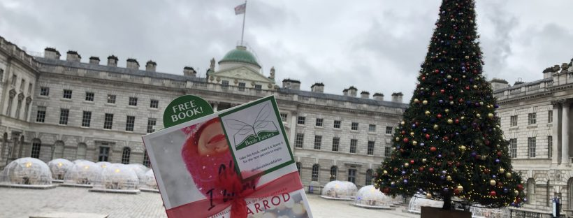 beth garrod's novel All I Want For Christmas hidden at Somerset House London by Book Fairies
