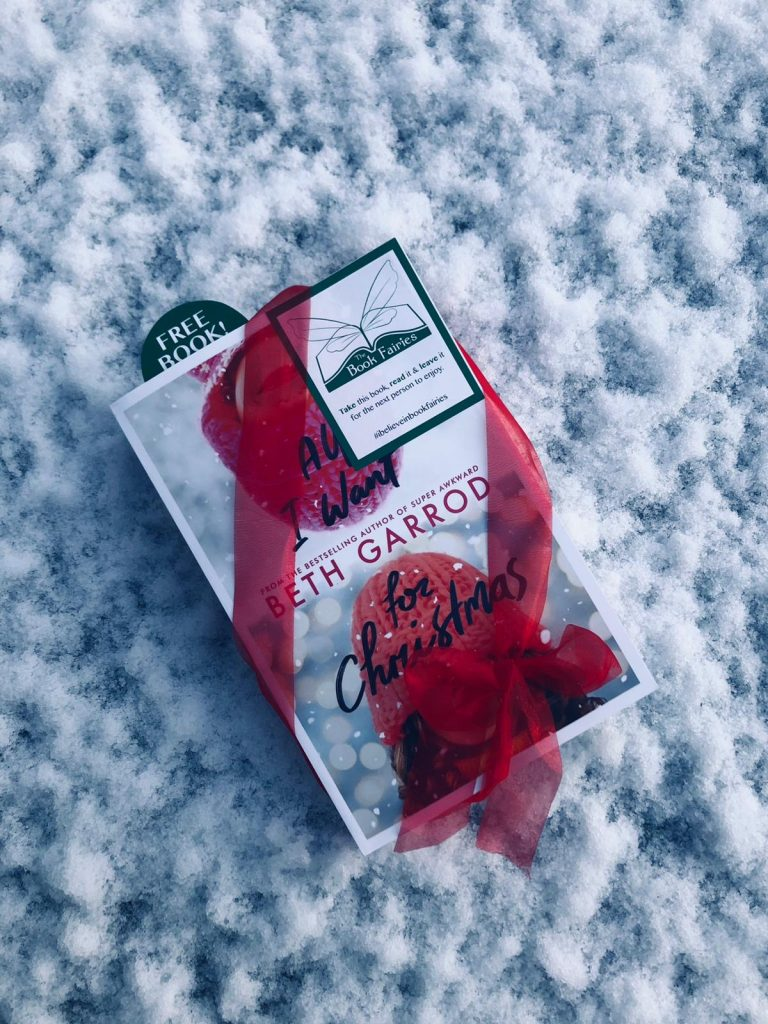 A copy waits in the snow - the book fairies hid copies of All I Want for Christmas by Beth Garrod
