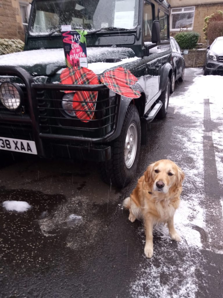Last One At The Party left on a Land Rover near a yellow labrador as both feature in the novel - hidden by book fairies in Scotland