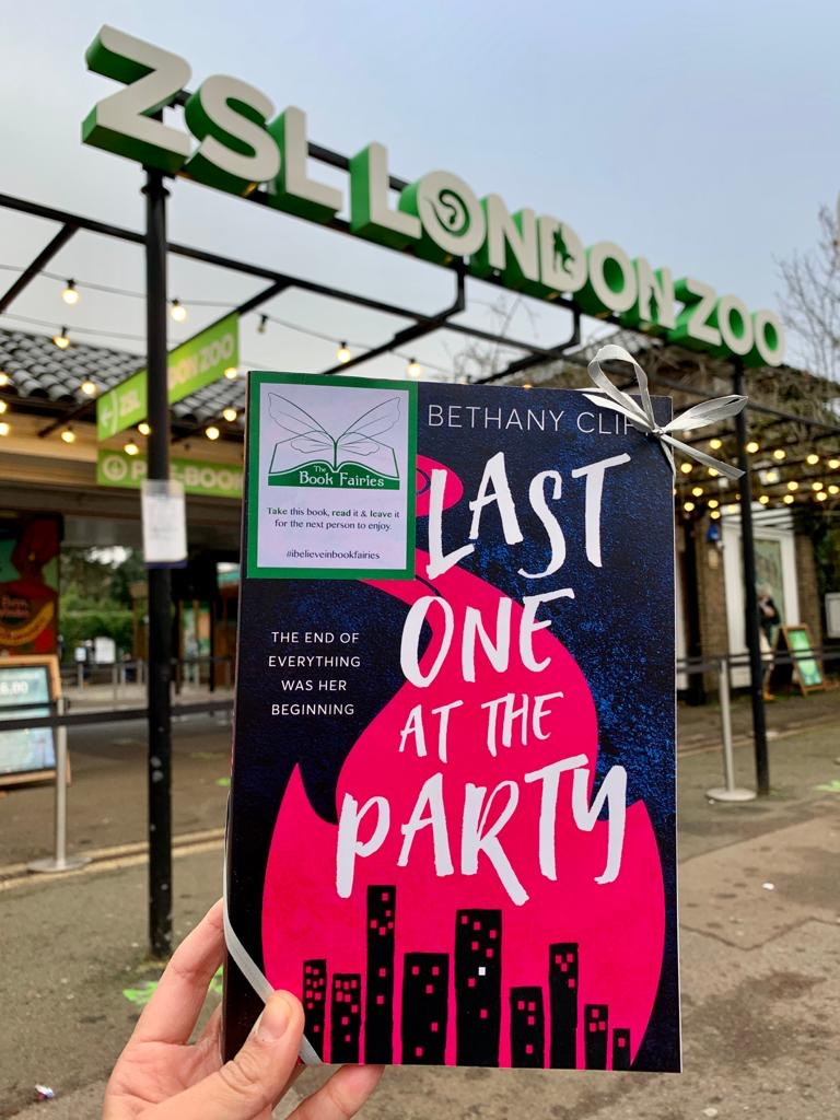 Last One At The Party left at London Zoo which features in Bethany Clift's novel, hidden by book fairies