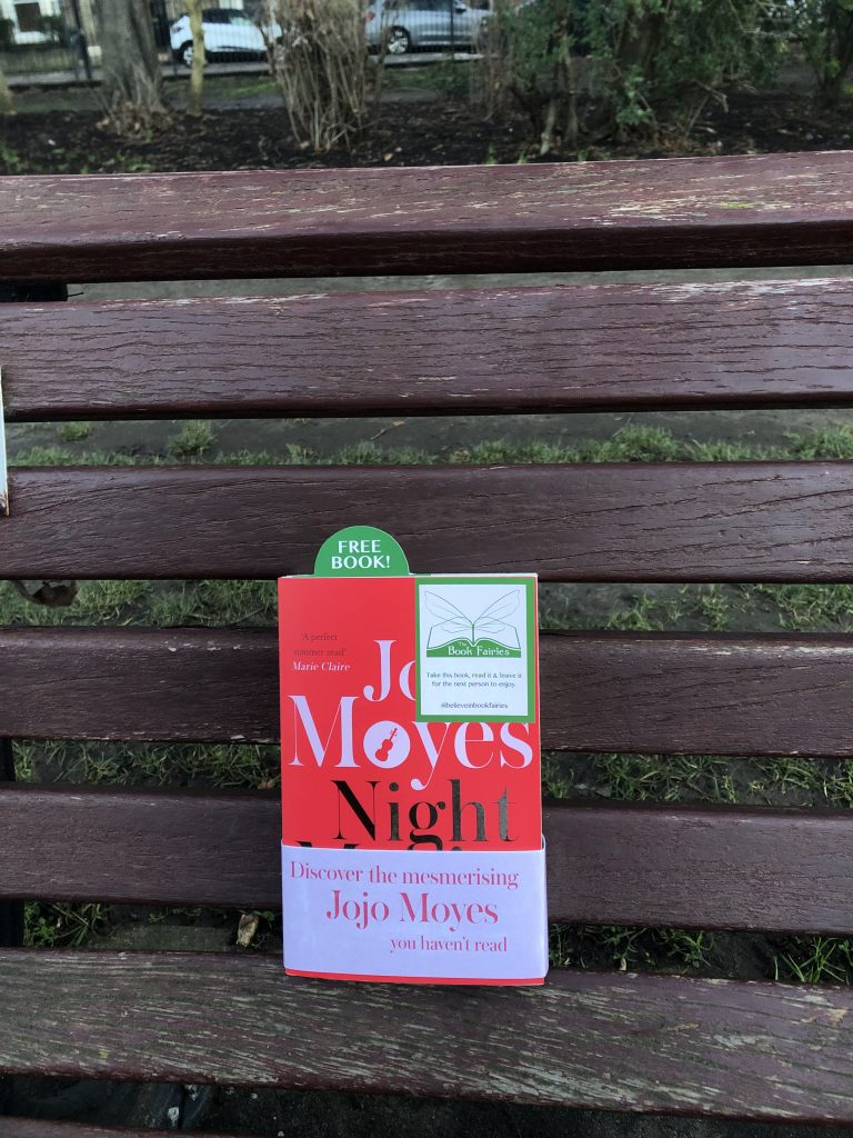 Hiding at a London bench - The Book Fairies hide copies of JoJo Moyes' Night Music