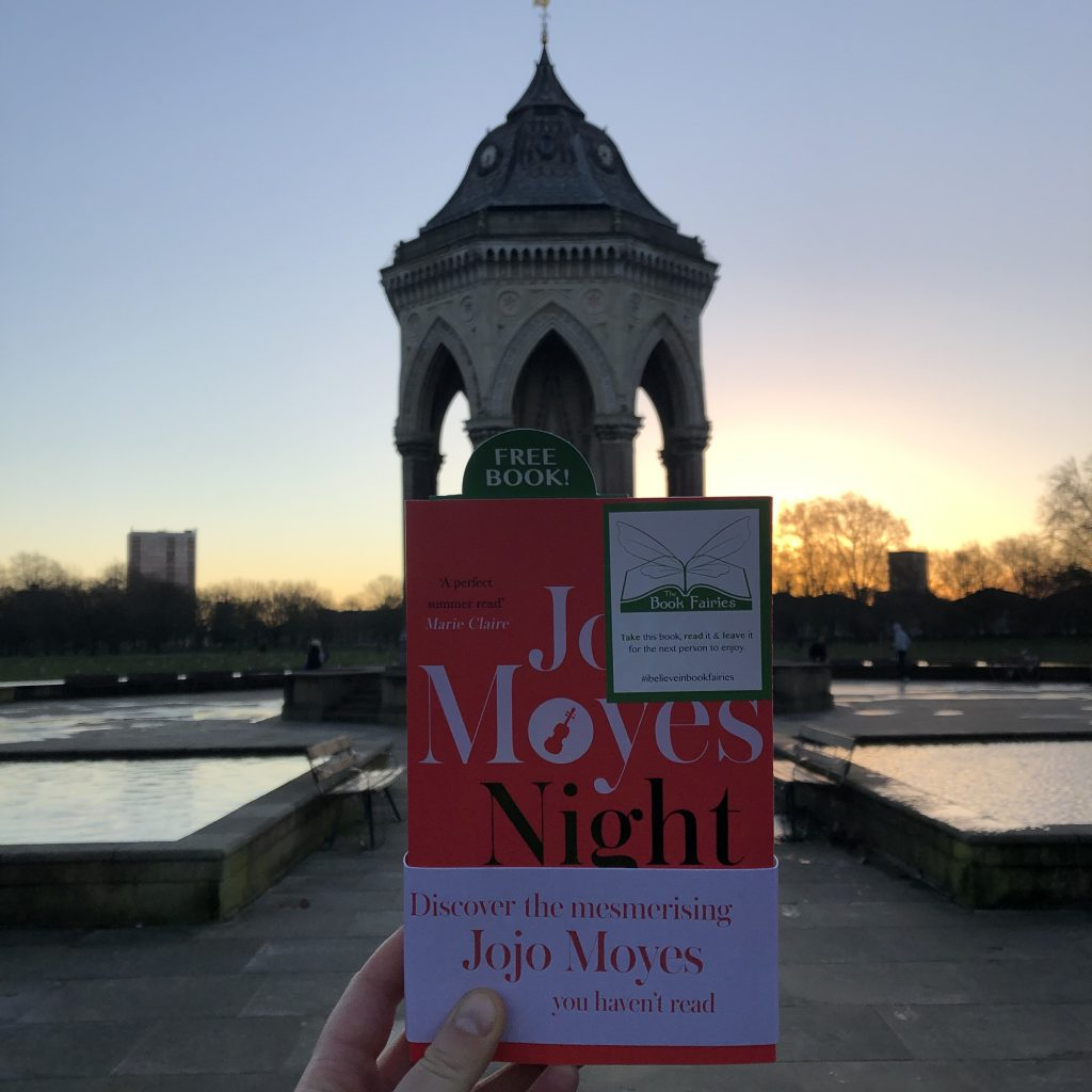 Victoria Park Hackney - The Book Fairies hide copies of JoJo Moyes' Night Music