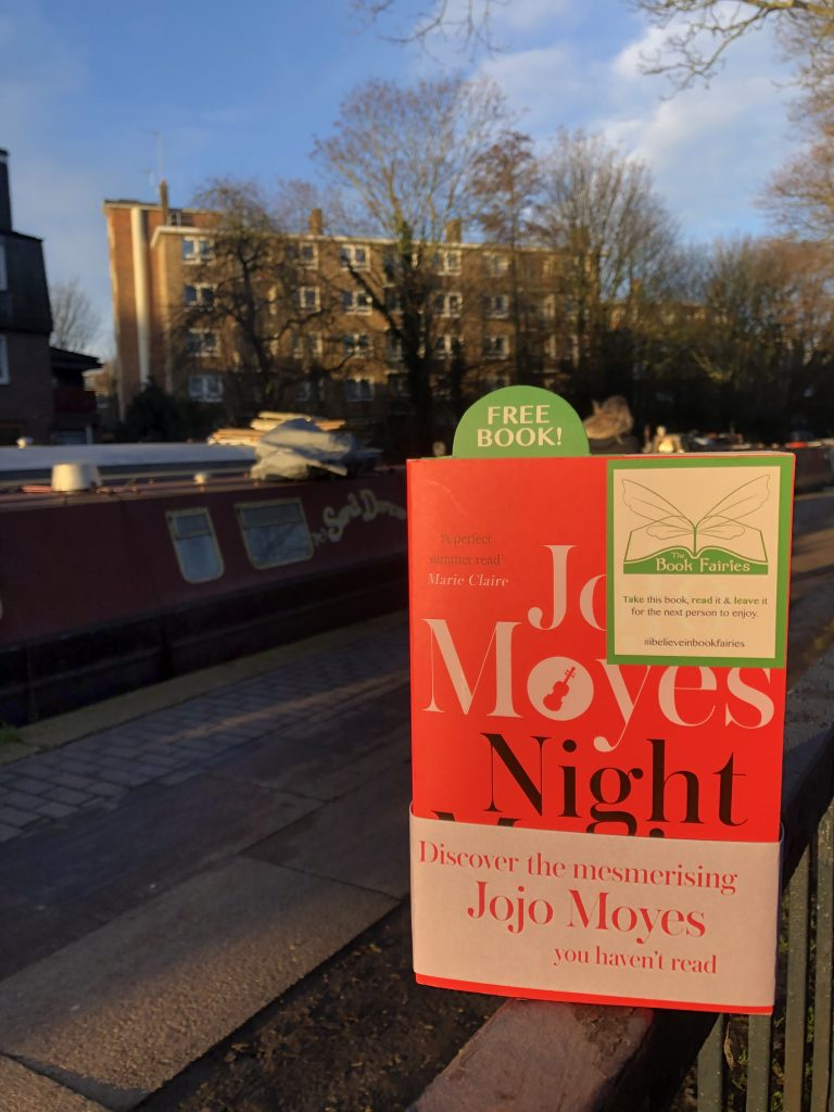 Hiding at the canal The Book Fairies hide copies of JoJo Moyes' Night Music