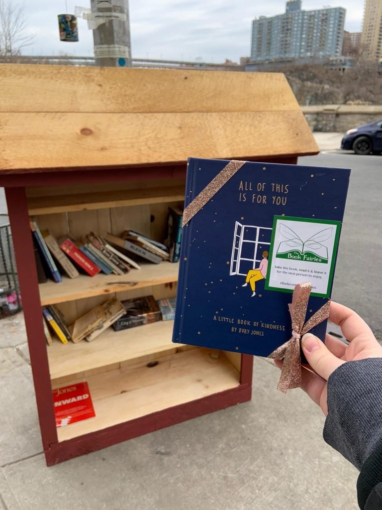A new little library in New York - Book Fairies hide copies of All Of This Is For You by Ruby Jones