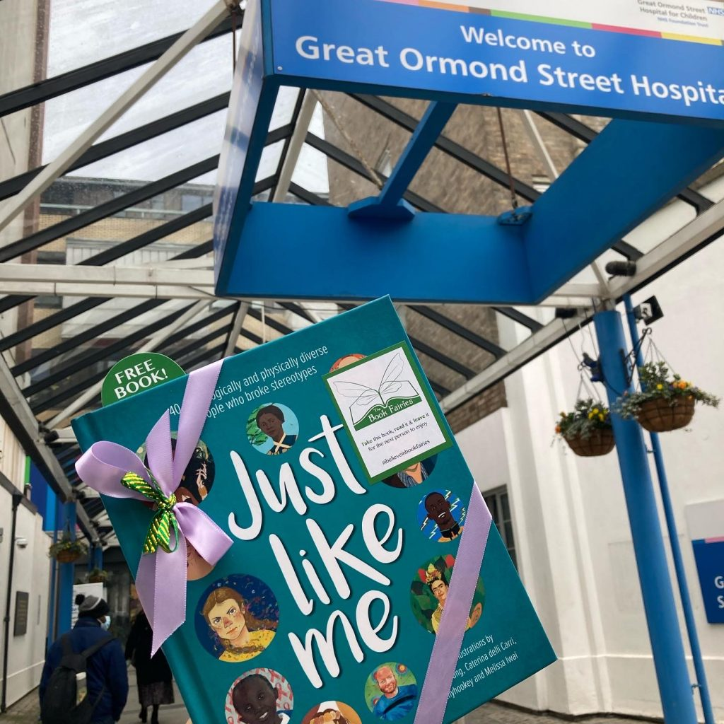 At Great Ormond Street Hospital Entrance - The Book Fairies hide Louise Gooding debut Just Like Me