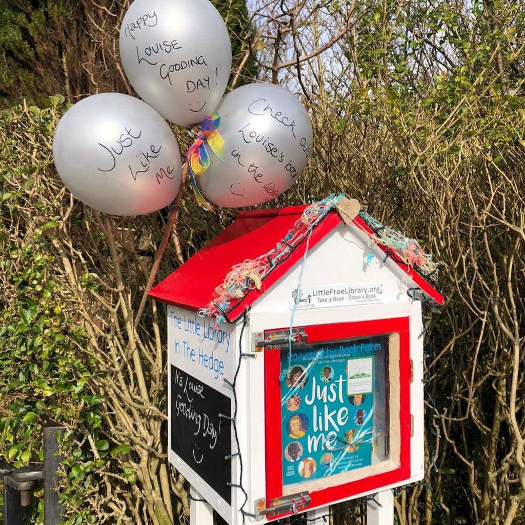 A specially decorated Little Free Library in Scotland - The Book Fairies hide Louise Gooding debut Just Like Me
