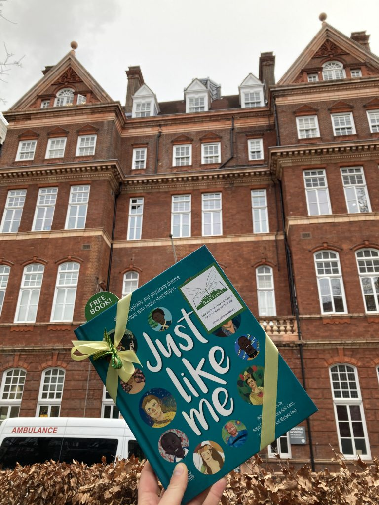 Outside a London centre for Neurology - The Book Fairies hide Louise Gooding debut Just Like Me