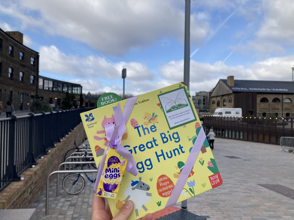 Hiding at Granary Square London - Book fairies hide copies of National Trust title 'The Great Big Easter Hunt'