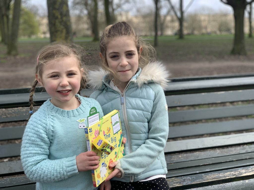 Happy book finders in London - Book fairies hide copies of National Trust title 'The Great Big Easter Hunt'