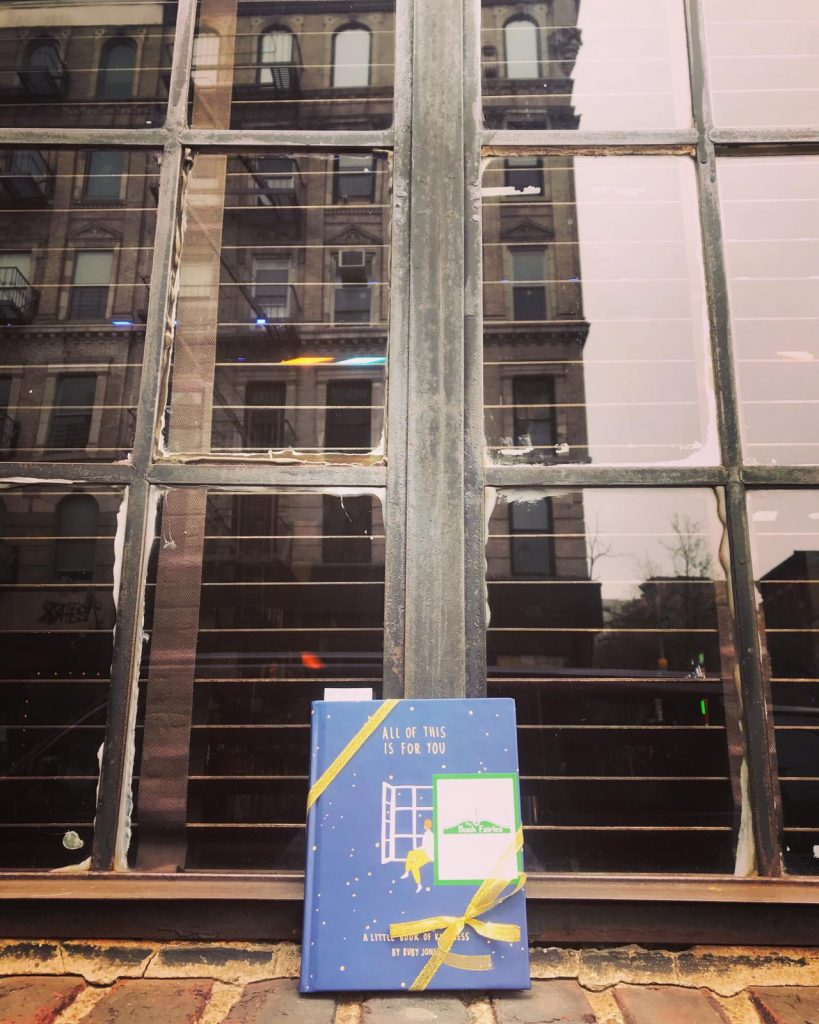 Hiding in downtown NYC: Book Fairies hide copies of All Of This Is For You by Ruby Jones