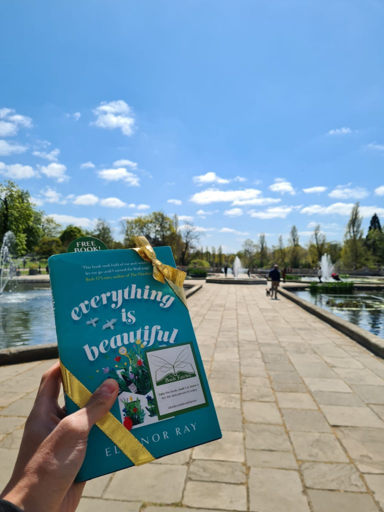 In Hyde Park London - Book Fairies hide copies of Everything is Beautiful by Eleanor Ray