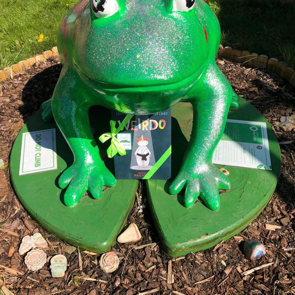 At a green frog in Scotland - Book fairies hide Zadie Smith's first children's book Weirdo around the UK
