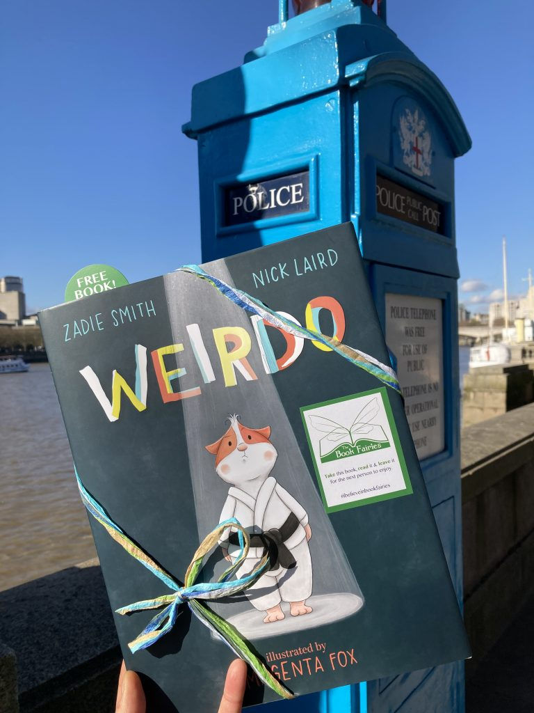 At a police phonebox - Book fairies hide Zadie Smith's first children's book Weirdo around the UK