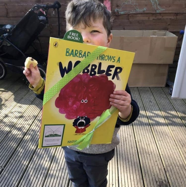This little man found a book! Book Fairies hide Barbara Throws A Wobbler from Puffin Books
