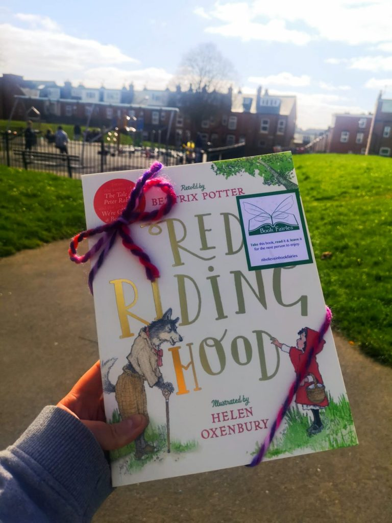 Wrapped in thread - Book Fairies hide copies of Red Riding Hood by Beatrix Potter and Helen Oxenbury