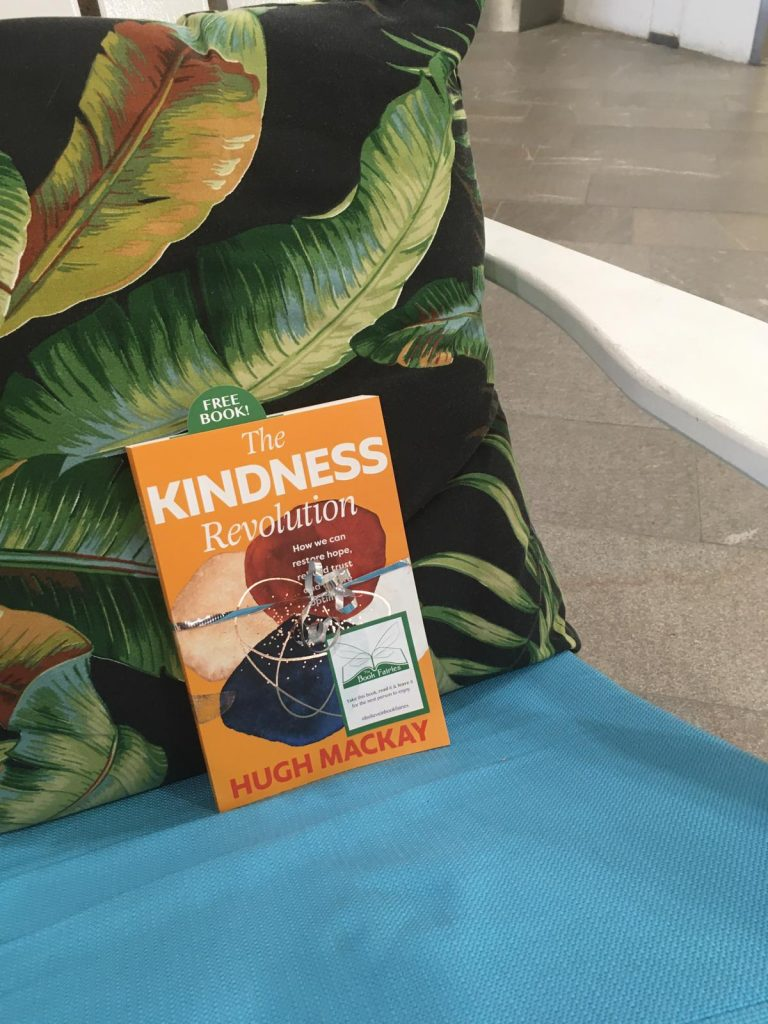 Left in a shopping centre - The Book Fairies in Australia hide copies of The Kindness Revolution