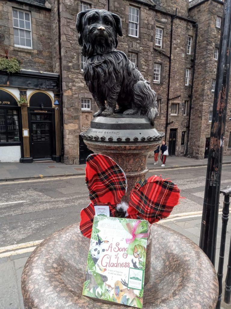 At Greyfriar's Bobby Edinburgh - Book fairies hide Michael Morpurgo's A Song of Gladness around the UK