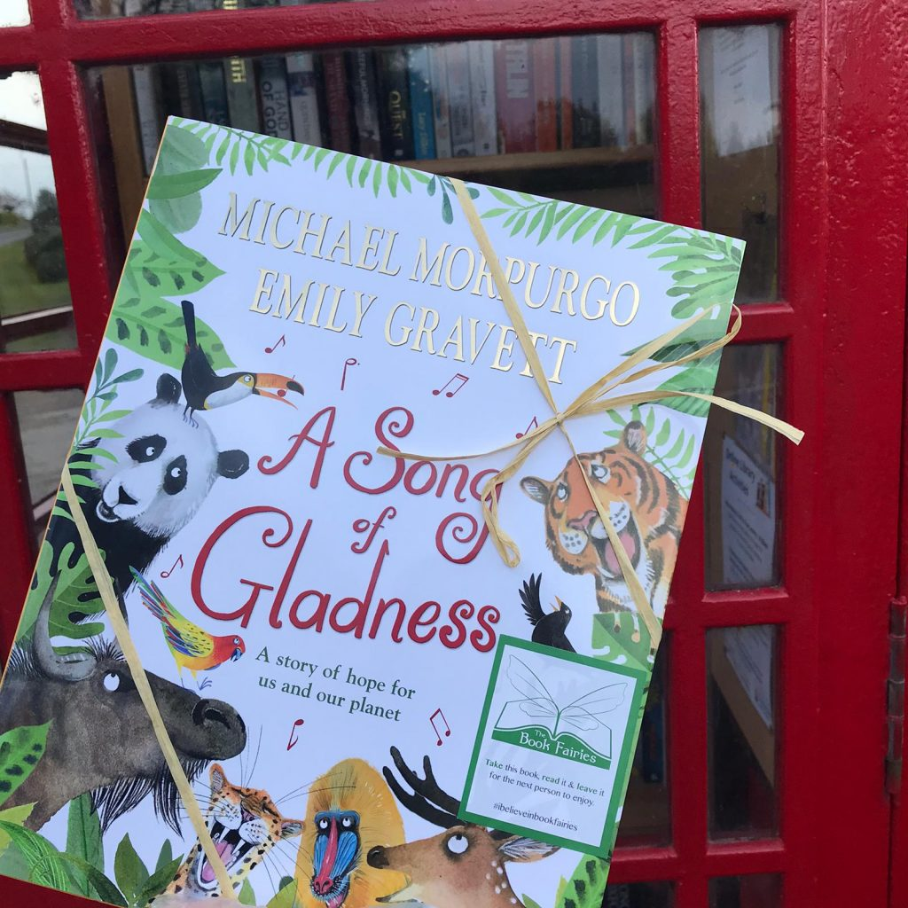 At a library phonebox - Book fairies hide Michael Morpurgo's A Song of Gladness around the UK