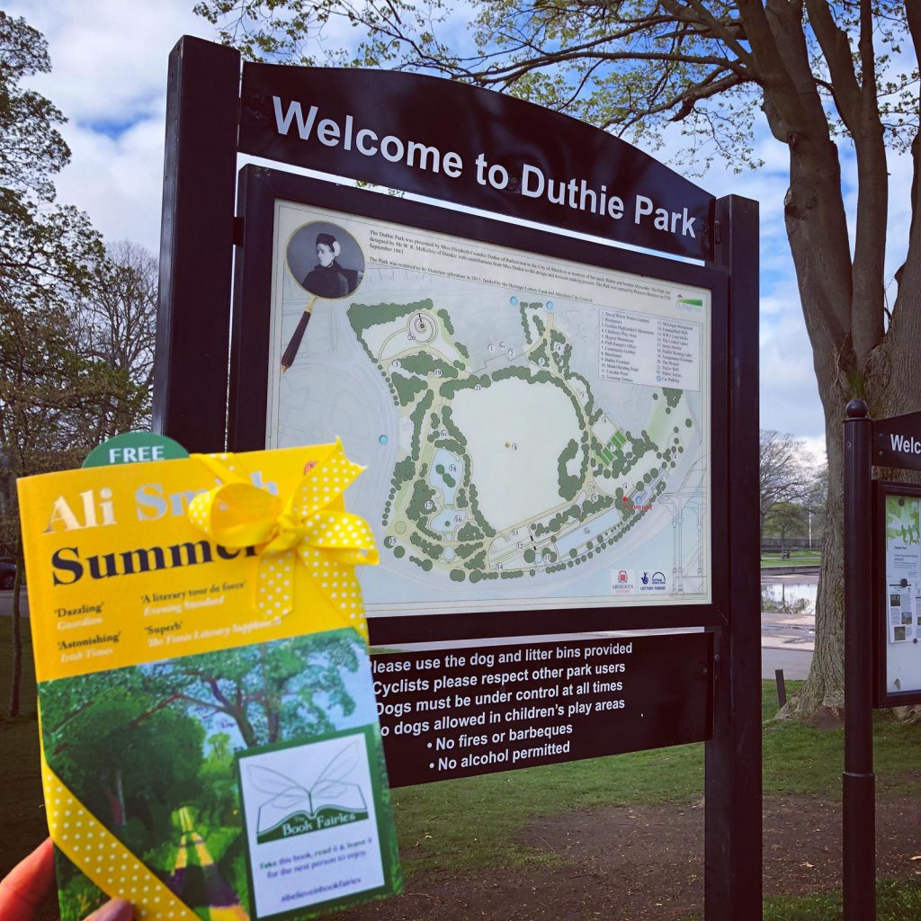 Book Fairies hide copies of Summer by Ali Smith in Duthie Park