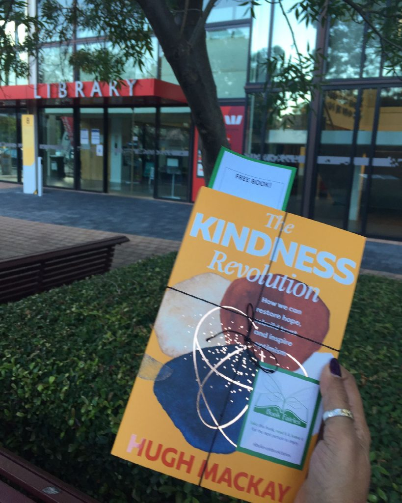 At a university library - The Book Fairies in Australia hide copies of The Kindness Revolution