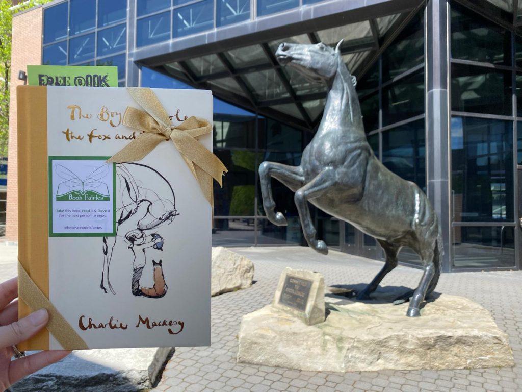 Near a horse statue! Book Fairies hide copies Charlie Mackesy The Boy The Mole The Fox and The Horse