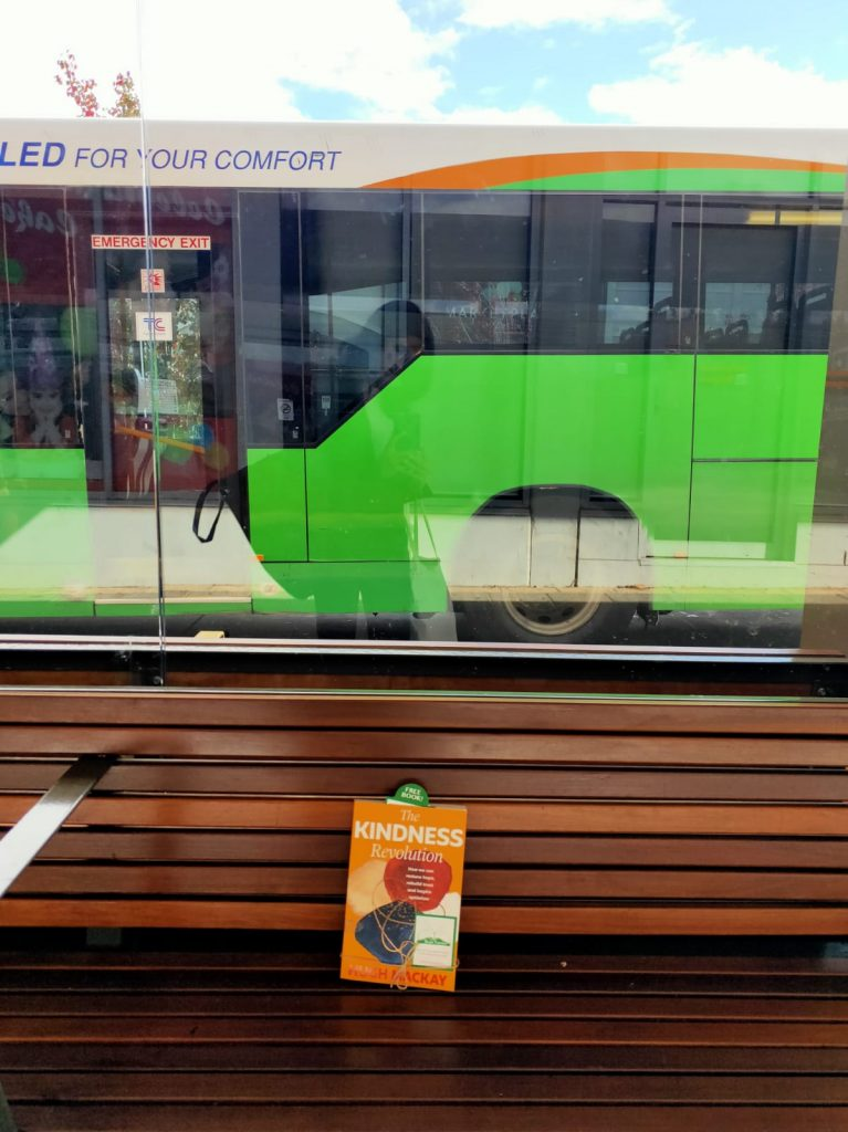 Left at a bus stop - The Book Fairies in Australia hide copies of The Kindness Revolution