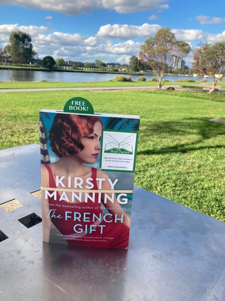 At a park in QLD - The Book Fairies in Australia hide copies of The French Gift by Kirsty Manning