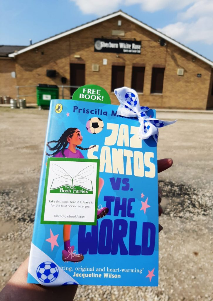 Book Fairies leave copies of Jaz Santos vs The World on paperback release day - at Sherburn Rose football ground
