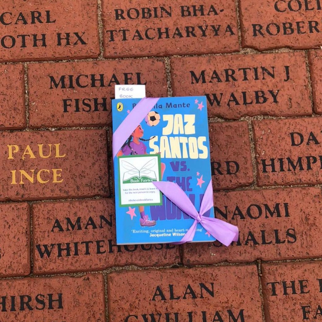 Book Fairies leave copies of Jaz Santos vs The World on paperback release day - at Old Trafford
