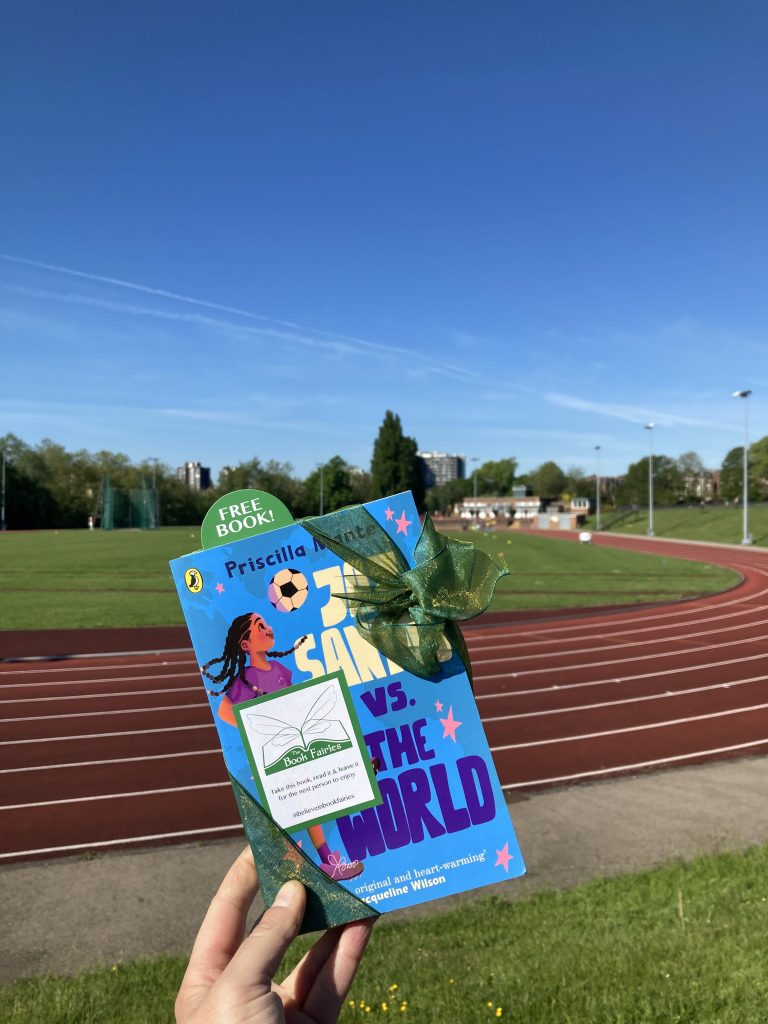 Book Fairies leave copies of Jaz Santos vs The World on paperback release day - at Hampstead Heath running track