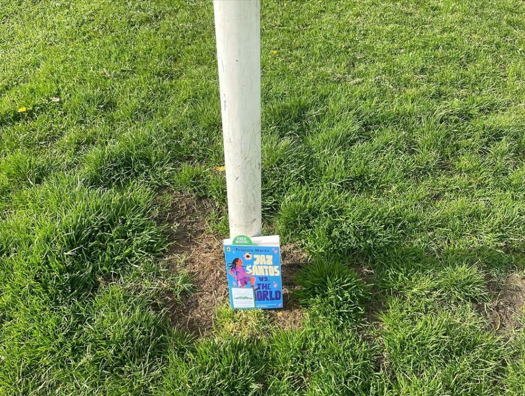 Book Fairies leave copies of Jaz Santos vs The World on paperback release day - at a goal post in Edinburgh