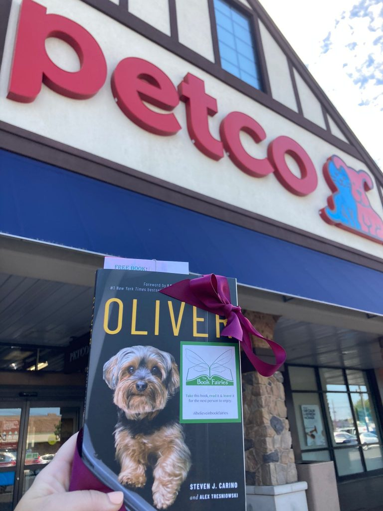 At Petco - Book Fairies around the states hide copies of Oliver the dog