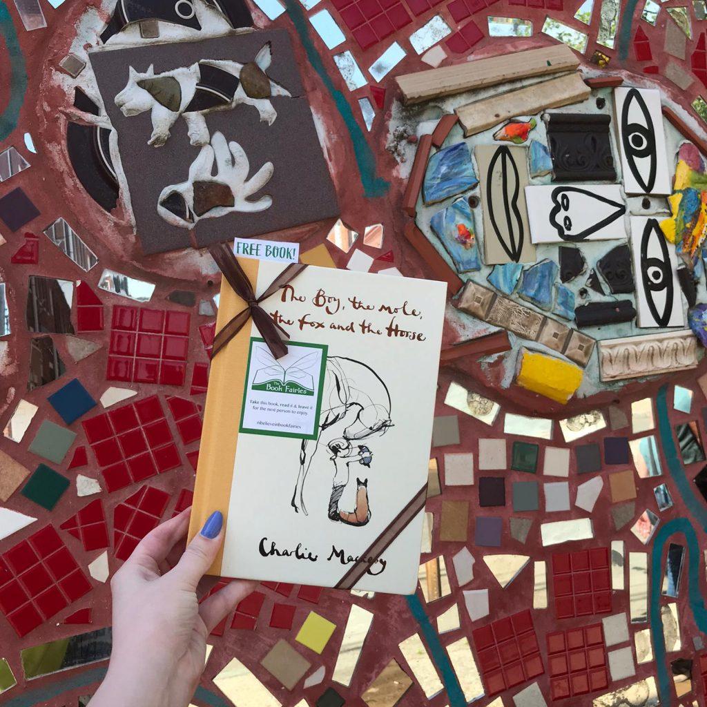 At a mosaic = Book Fairies hide copies Charlie Mackesy The Boy The Mole The Fox and The Horse