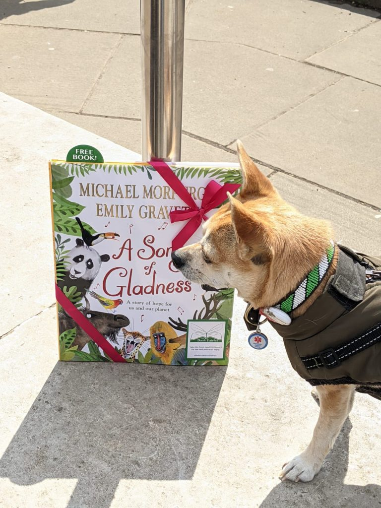 Book fairies hide Michael Morpurgo's A Song of Gladness around the UK - dog