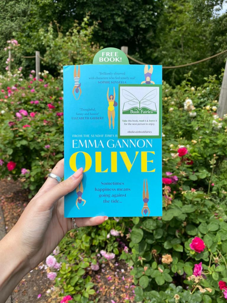 Olive by Emma Gannon hidden by UK book fairies in a London park