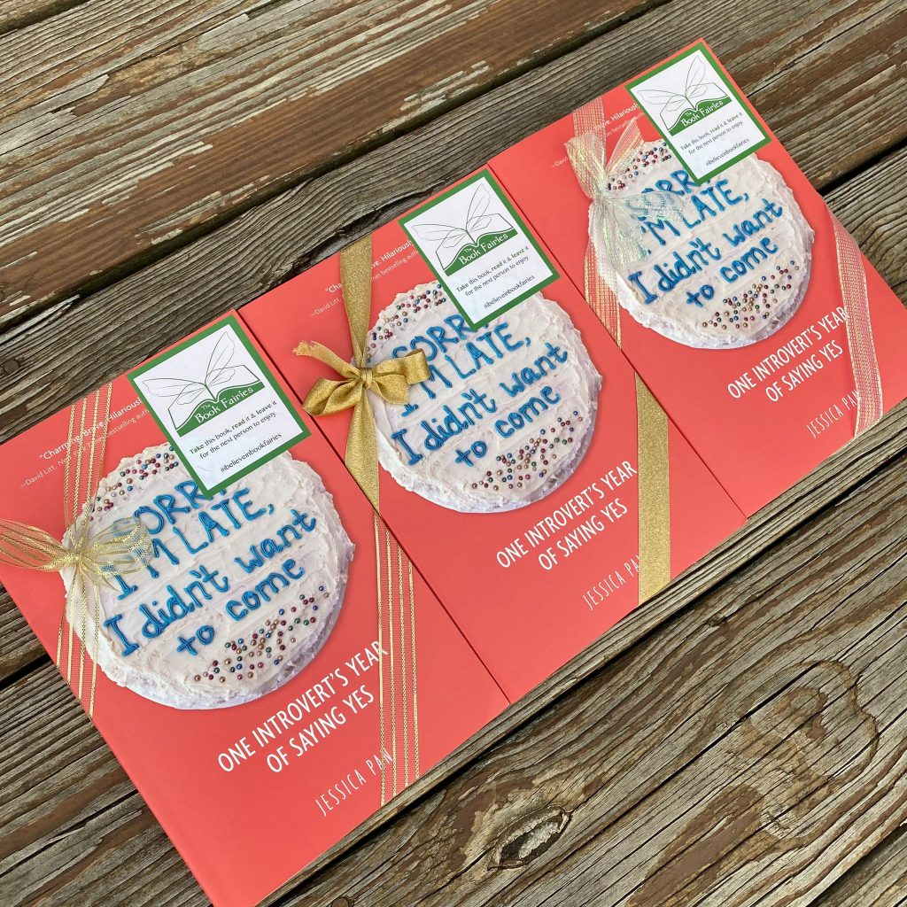 Book fairies in North America hide copies of Sorry I'm Late I Didn't Want To Come - ribboned books