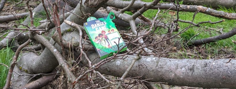 Book Fairies share copies of The Danger Gang by Tom Fletcher in a tree