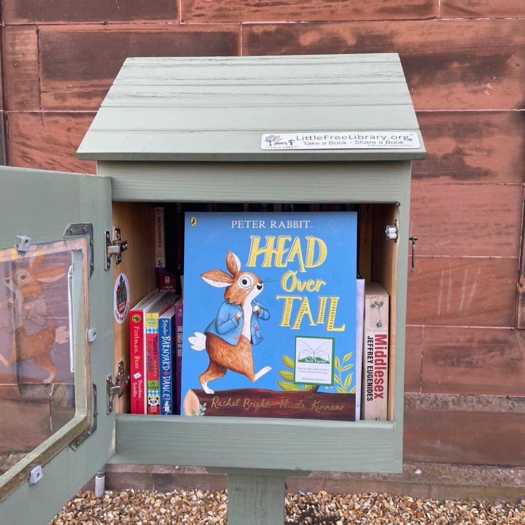 New Peter Rabbit adventure Head Over Tail shared by book fairies in a little free library