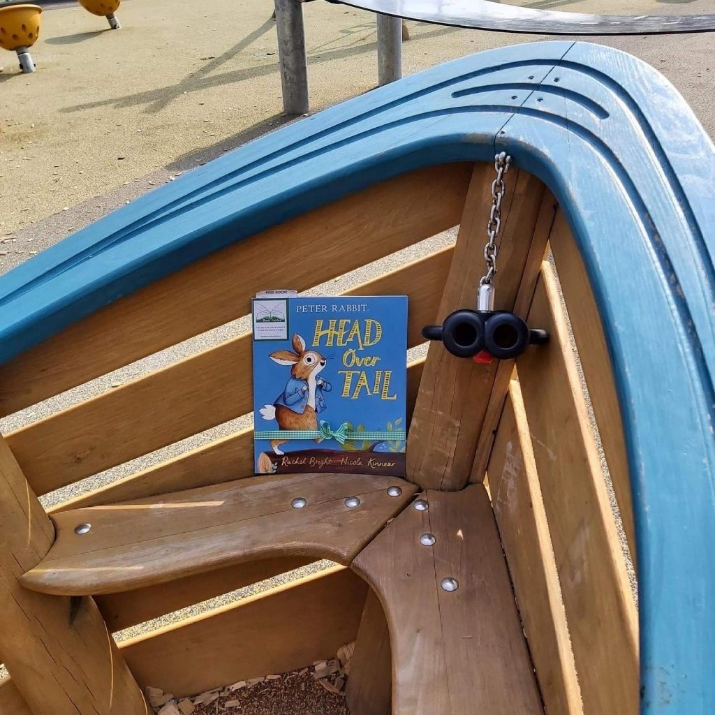 New Peter Rabbit adventure Head Over Tail shared by book fairies - in a playground