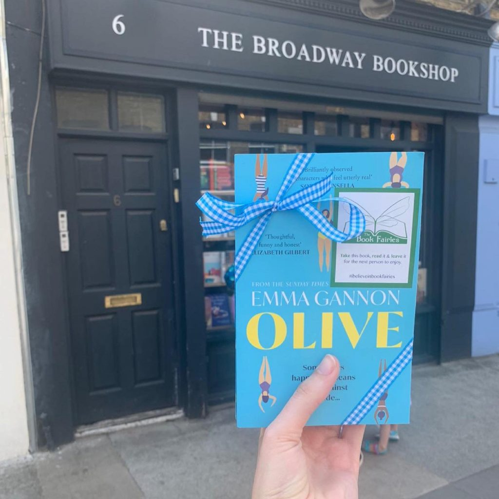 Olive by Emma Gannon hidden by UK book fairies at The Broadway Bookshop London