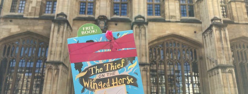 Book Fairies hide The Thief on the Winged Horse by Kate Mascarenhas at a college library in Oxford