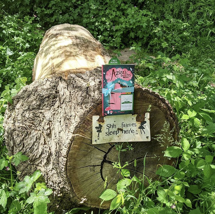 Aziza and the Secret Fairy Door hidden by Book Fairies at a fairy log