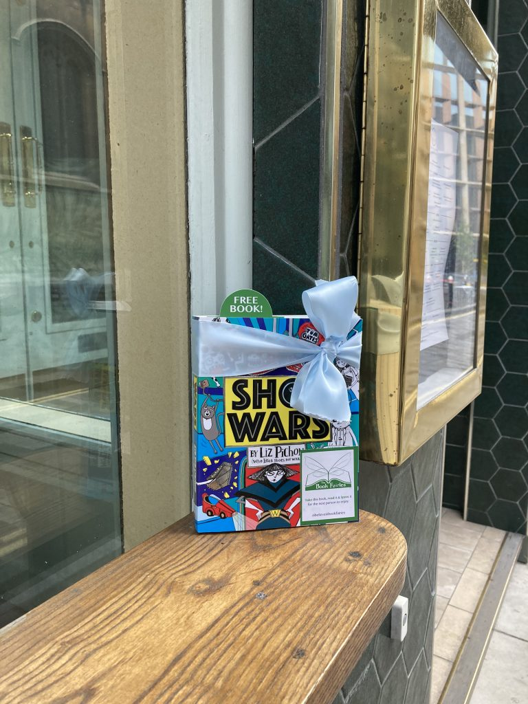 The Book Fairies share Scholastic children's book Shoe Wars at a p ub