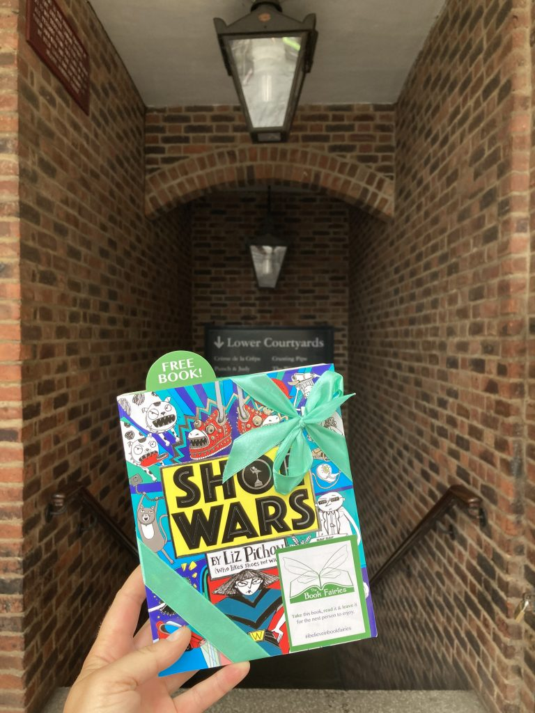 The Book Fairies share Scholastic children's book Shoe Wars at Covent Garden London